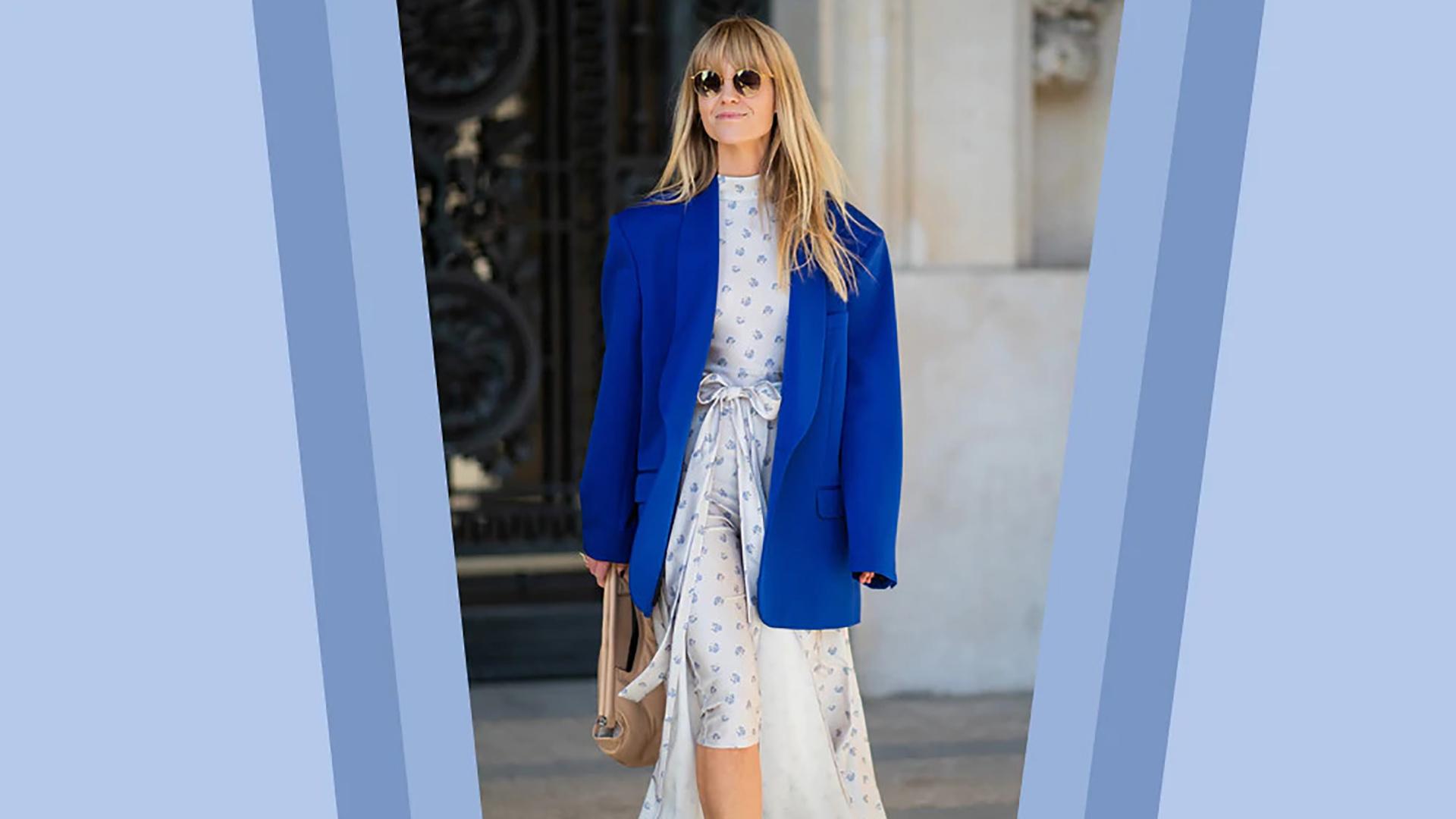Outfit blazer con vestito a fiori